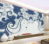 现代艺术彩雕背景墙画